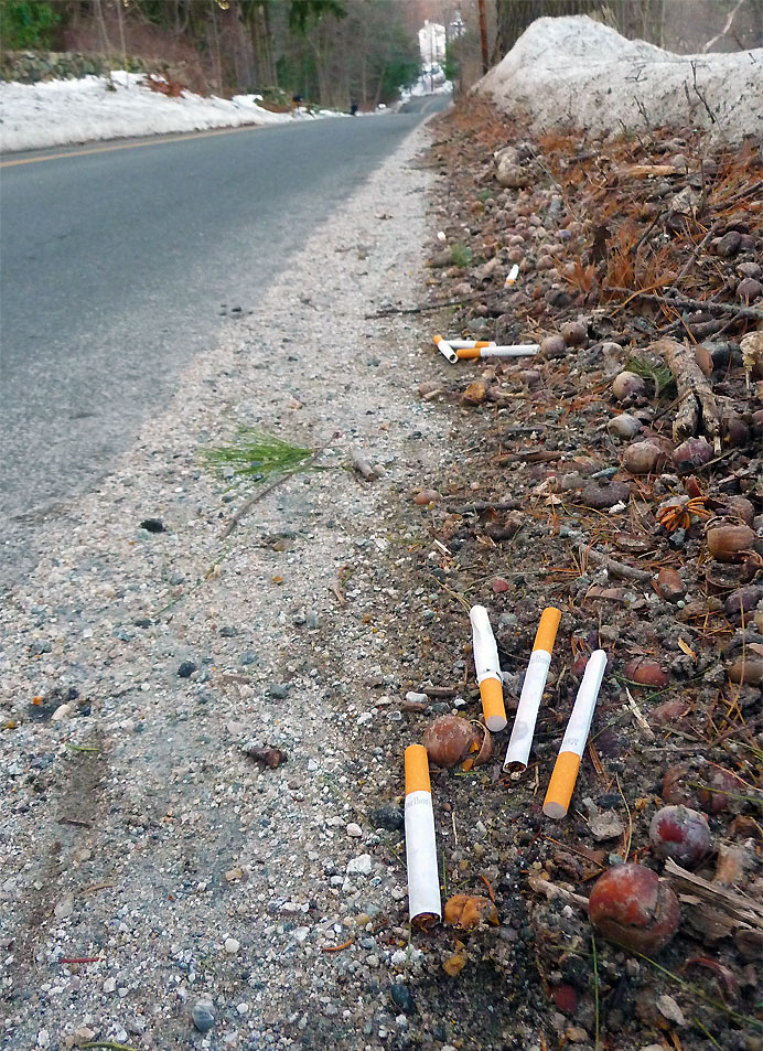 Cigarettes along road