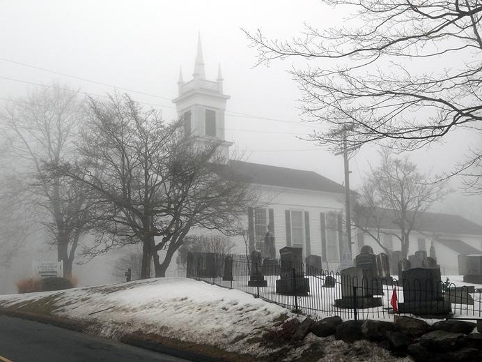 Church in fog