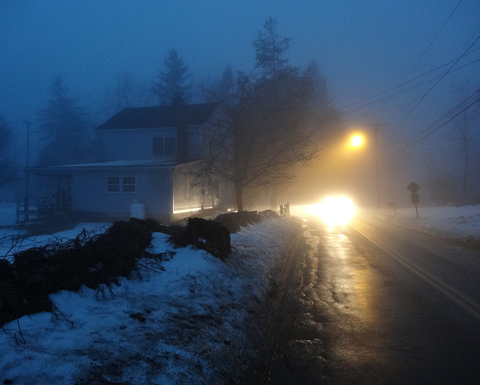 Street corner in fog