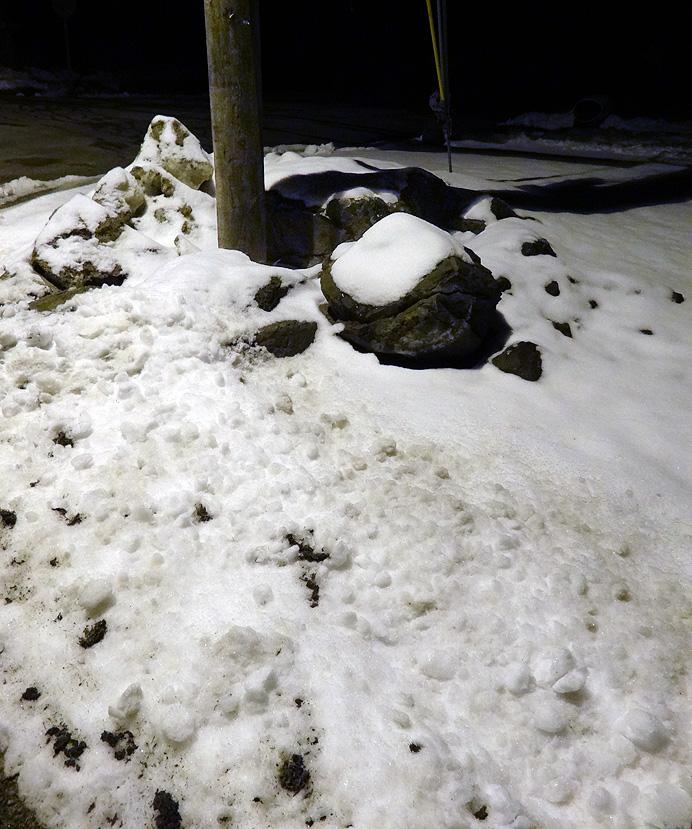 Snowy street corner