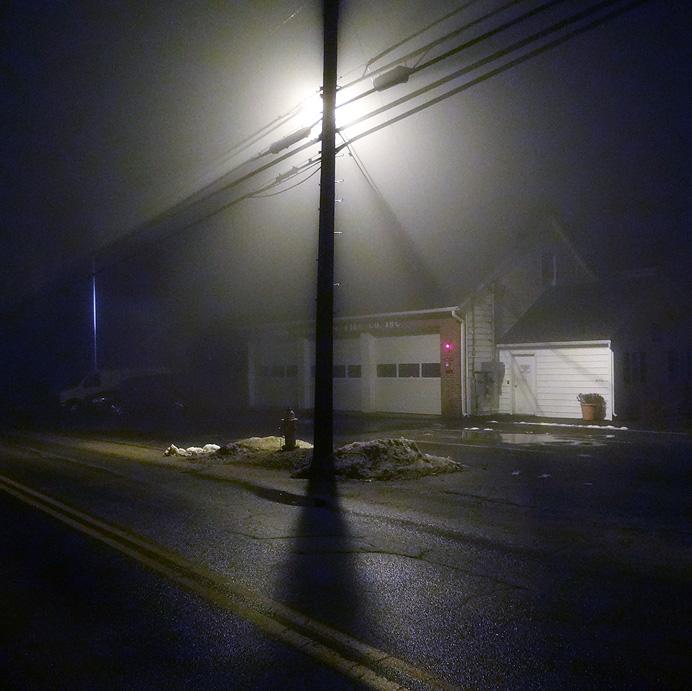 Firehouse in fog