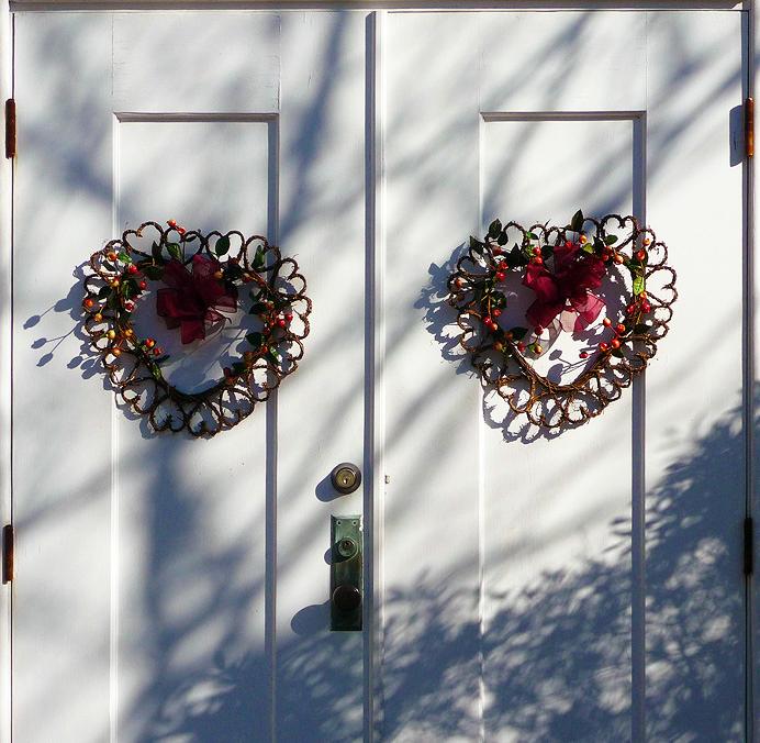 Wreaths on a church door