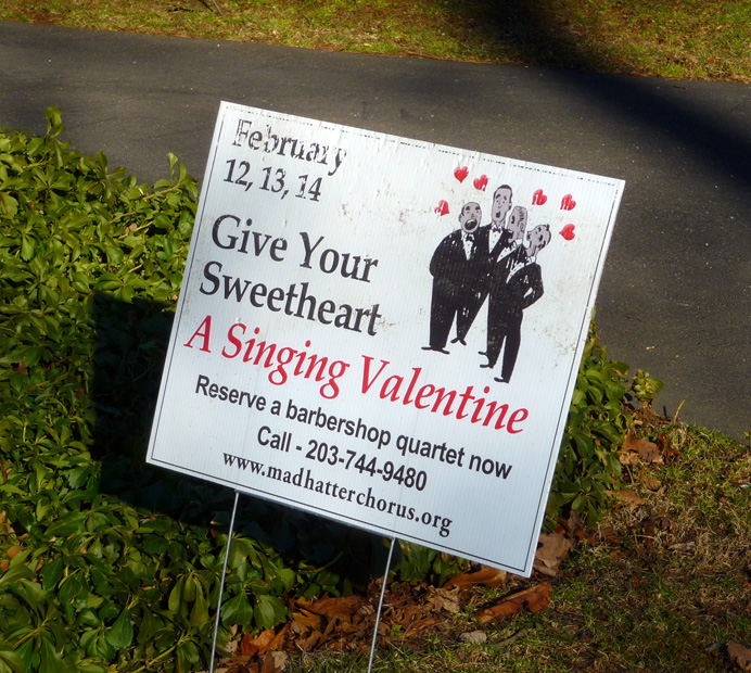 Singing Valentine sign