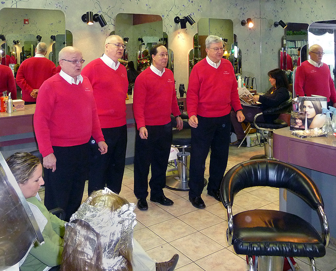 Barbershop singers in beauty parlor