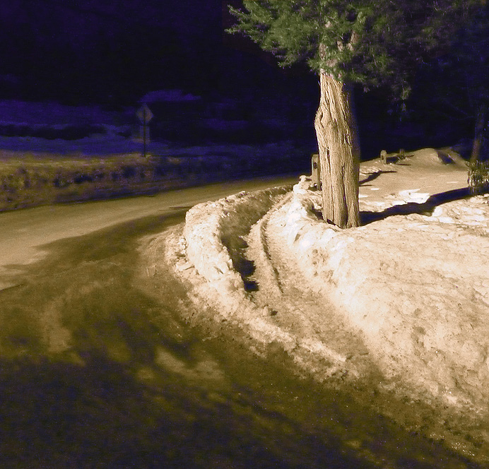 Snowy corner at night