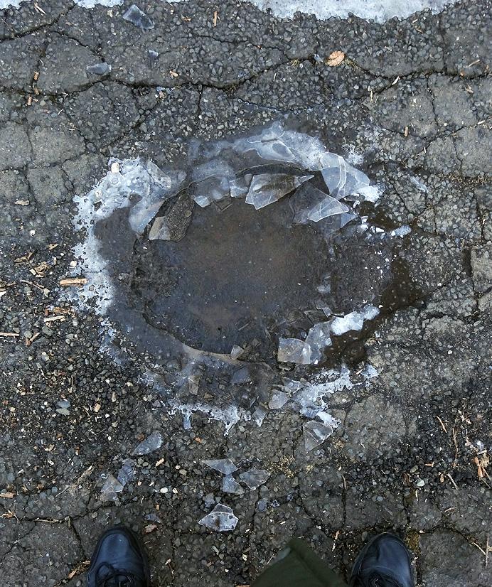 Frozen pothole