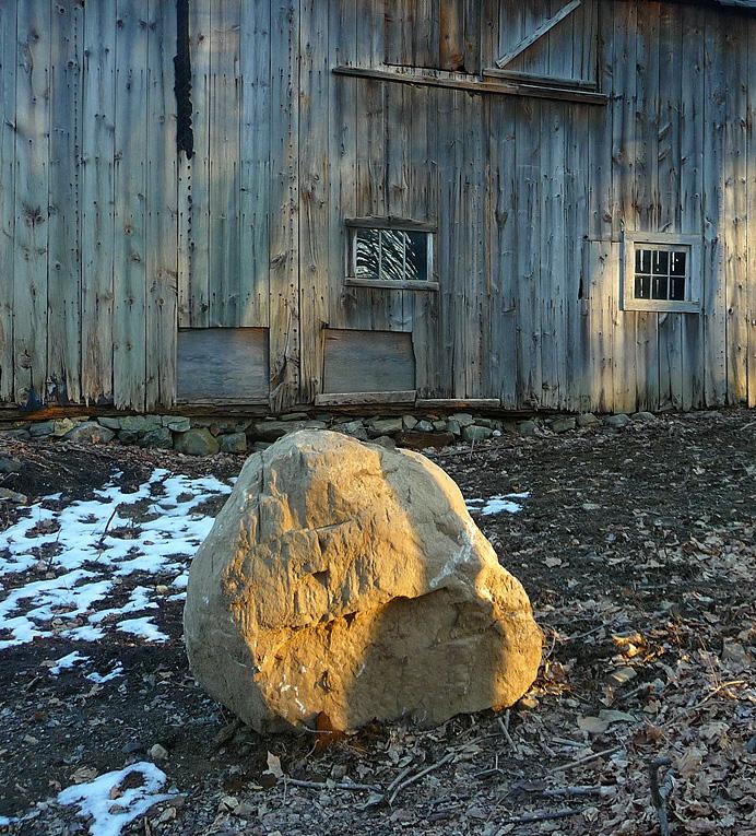 Rock and barn