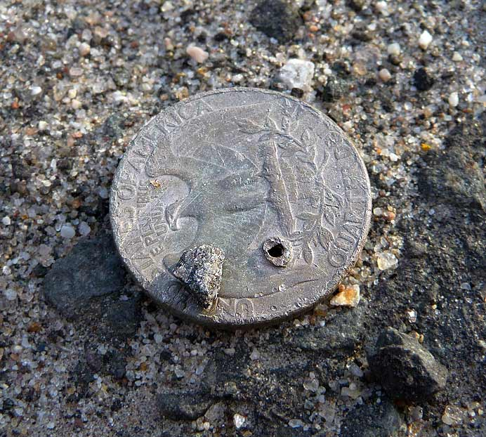 Coin lying on road