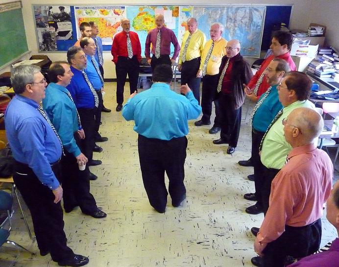 Barbershop chorus rehearsing