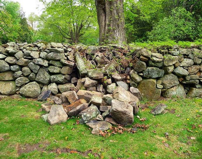 Broken stone fence