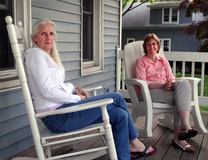 Women sitting on porch