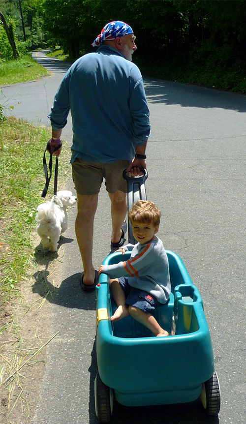 Grandfather pulling a boy in a wagon