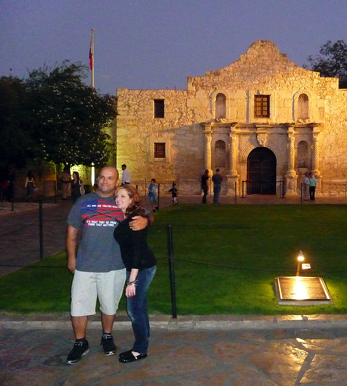 Couple posing at the Alamo