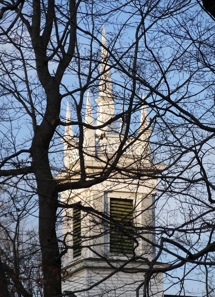Church steeple seen through woods