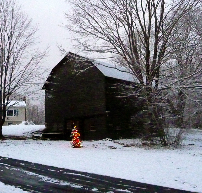 Barn with Christmas tree